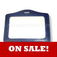 Leather Border Badgeholder - Top Loading Horizontal - Blank