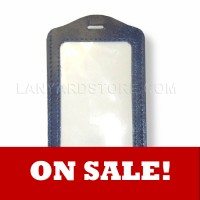 Leather Border Badgeholder - Vertical Orientation - Blank