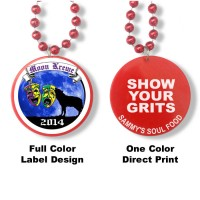 Mardi Gras Beads with Custom Pendant - Full Color